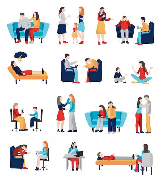 Conjunto de caracteres de psicólogo familiar Vetor grátis