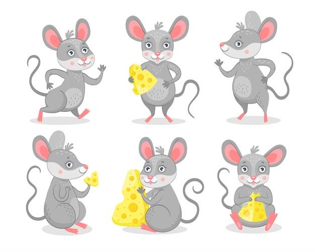 Conjunto de caracteres de ratos engraçados Vetor grátis