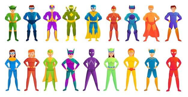 Conjunto de caracteres de super-herói, estilo cartoon Vetor Premium