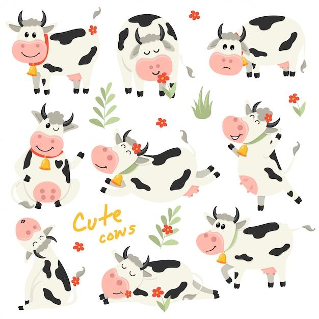 Conjunto de caracteres de vacas giro em várias posições Vetor Premium