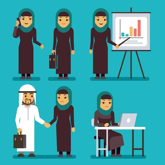 Conjunto de caracteres de vetor de empresária árabe Vetor Premium