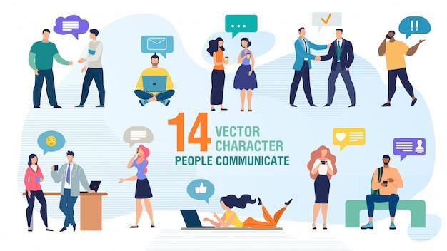 Conjunto de caracteres de vetor plana pessoas a comunicar Vetor Premium