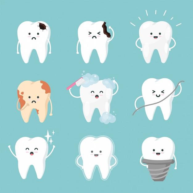Conjunto de caracteres dente bonito em estilo simples. coleção dental - escovação, placa, cárie, limpeza, manchas e dentes saudáveis. Vetor Premium