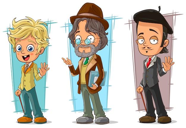 Conjunto de caracteres do artista inteligente dos desenhos animados Vetor Premium
