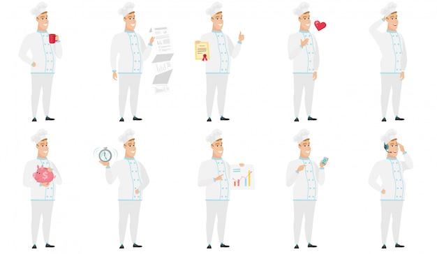 Conjunto de caracteres do chef. Vetor Premium