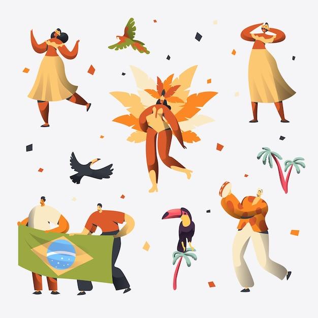 Conjunto de caracteres do dançarino de carnaval do brasil. Vetor Premium
