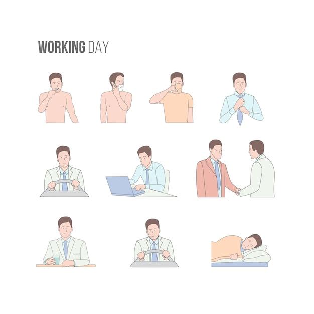 Conjunto de caracteres do dia de trabalho do homem isolado no fundo branco Vetor Premium