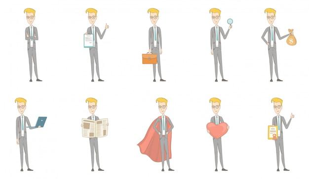 Conjunto de caracteres do empresário caucasiano Vetor Premium