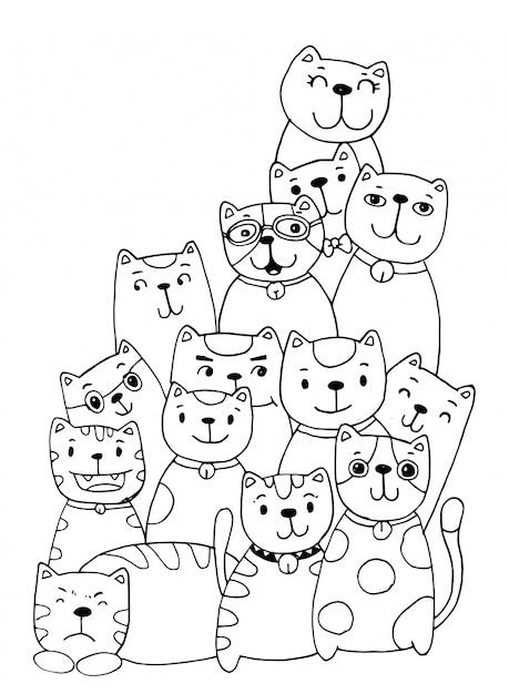 Conjunto De Caracteres Do Gato Estilo Ilustracao Doodles Colorir