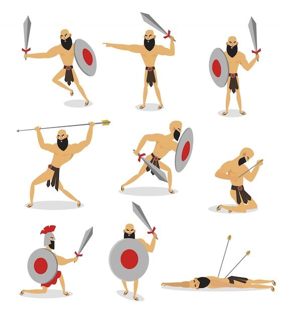 Conjunto de caracteres do gladiador de roma em poses diferentes de ação Vetor Premium