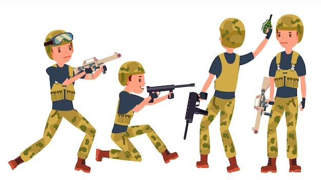 Conjunto de caracteres do jovem soldado soldado homem Vetor Premium