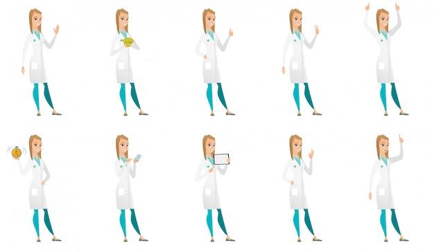 Conjunto de caracteres do médico. Vetor Premium