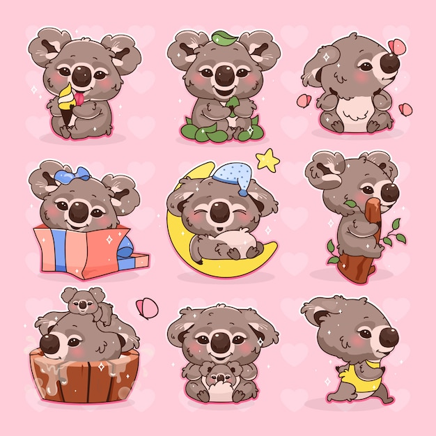 Conjunto de caracteres do vetor coala bonito kawaii dos desenhos animados Vetor Premium