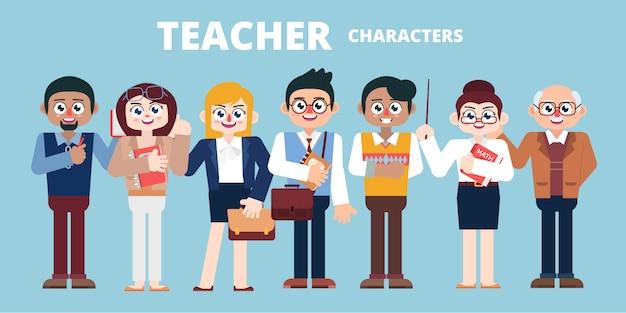 Conjunto de caracteres dos professores ilustração plana Vetor Premium
