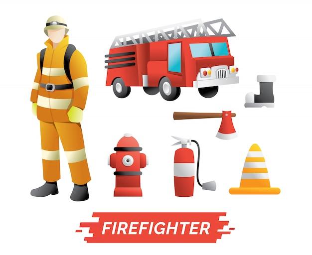 Conjunto de caracteres e elemento de bombeiro Vetor Premium