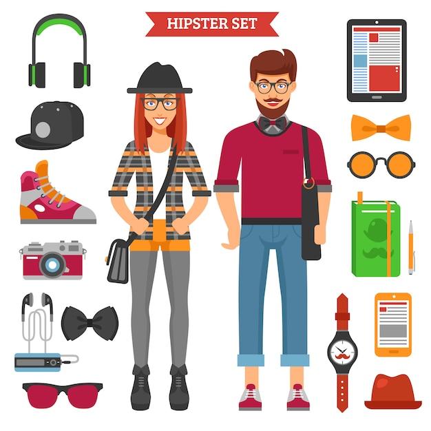 Conjunto de caracteres e elementos de casal hipster Vetor Premium