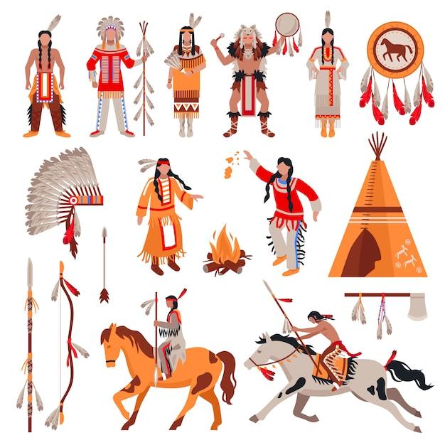Conjunto de caracteres e elementos de índios americanos Vetor grátis