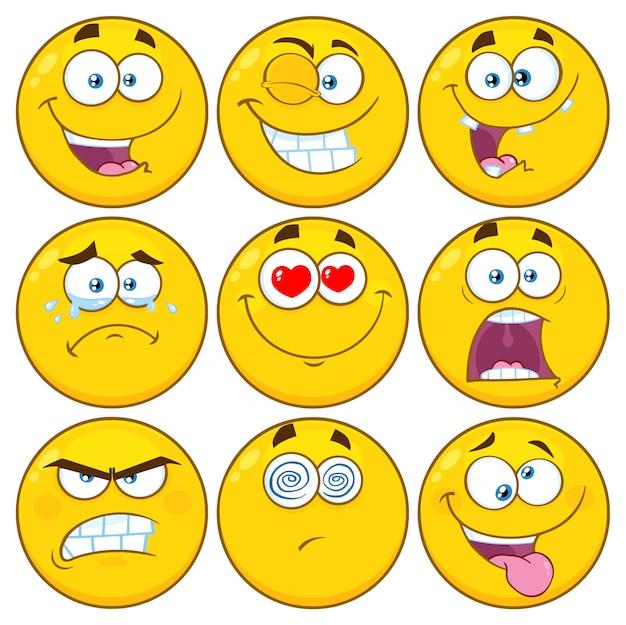 Conjunto de caracteres engraçado amarelo cartoon emoji rosto série Vetor Premium