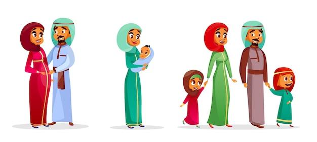 conjunto de caracteres família árabe dos desenhos animados. Feliz, saudita, emirados, muçulmano, par, homem, mulher Vetor grátis