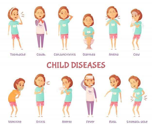 Conjunto de caracteres isolados com menina dos desenhos animados, ansiosos por diferentes sintomas de doença infantil Vetor grátis