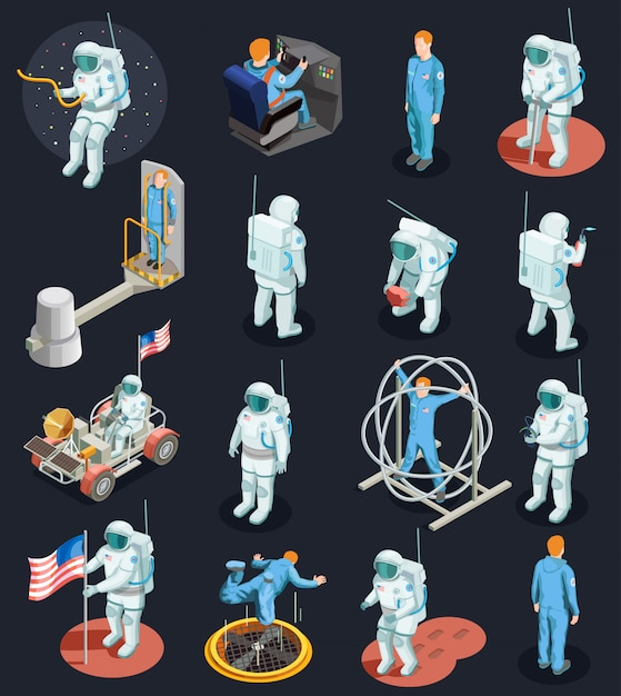 Conjunto de caracteres isométrica de astronautas Vetor grátis