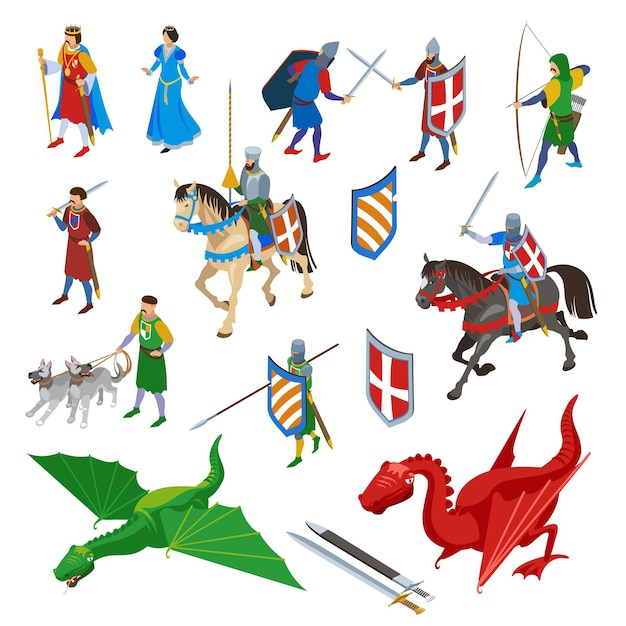 Conjunto de caracteres isométricos medievais de armas antigas de espadas isoladas e personagens humanos de guerreiros com dragões Vetor grátis