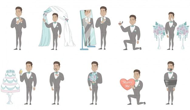 Conjunto de caracteres jovem noivo latino-americano Vetor Premium