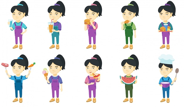 Conjunto de caracteres menina asiática Vetor Premium