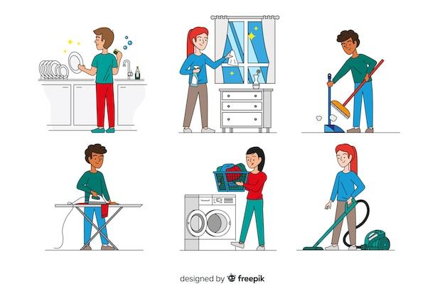 Conjunto de caracteres minimalistas, fazendo trabalhos domésticos Vetor grátis