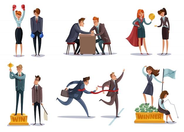 Conjunto de caracteres perdedores de vencedor de negócios de investidores de imagens isoladas com caracteres de estilo doodle entre competições esportivas Vetor grátis