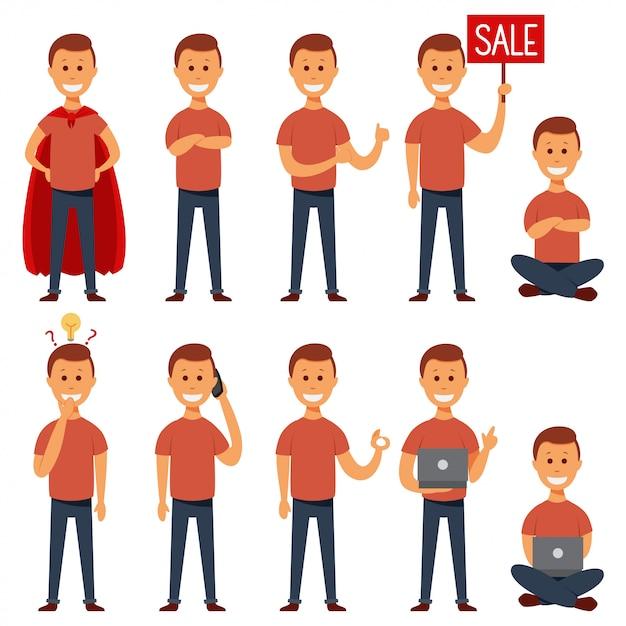 Conjunto de caracteres plana de vetor de cara jovem. Vetor Premium