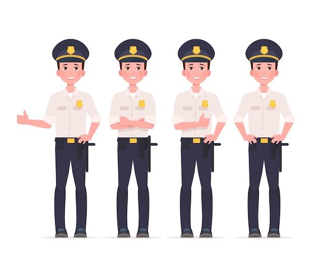 Conjunto de caracteres policiais Vetor Premium