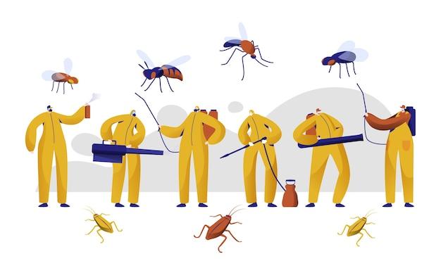 Conjunto de caracteres profissionais de controle de pragas de mosquito. homem em uniforme luta com inseto com spray nebulizador de inseticida químico. ilustração em vetor plana dos desenhos animados de proteção tóxica para baratas fumigação Vetor Premium