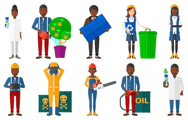 Conjunto de caracteres sobre questões de ecologia. Vetor Premium