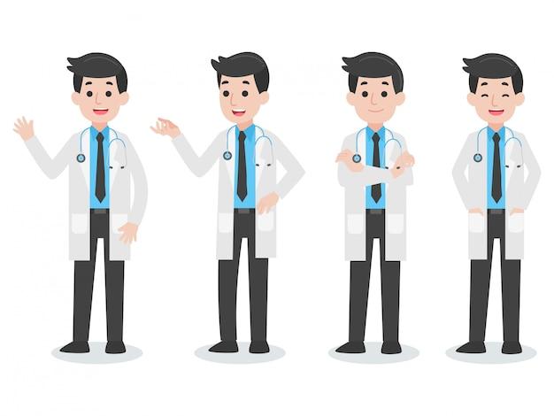 Conjunto de caráter médico Vetor Premium