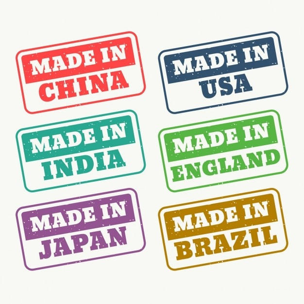 Conjunto de carimbos de borracha para made in china eua india japão inglaterra e brasil Vetor grátis