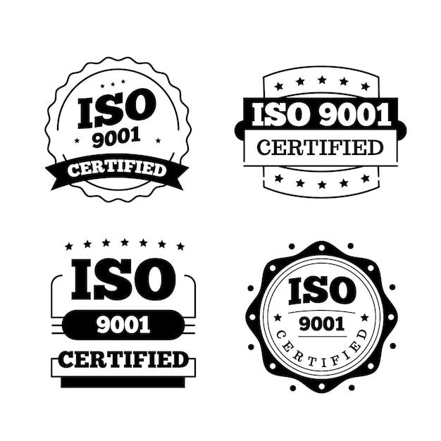 Conjunto de carimbos de certificação iso Vetor Premium