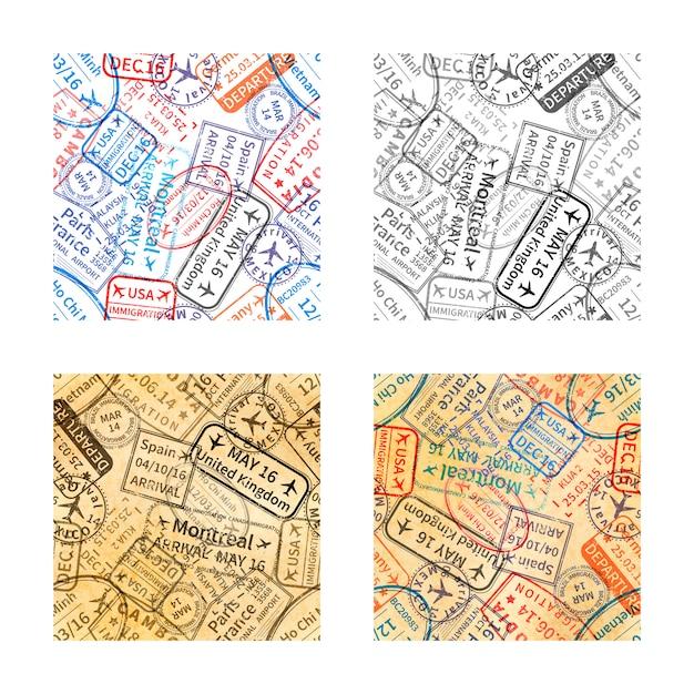 Conjunto de carimbos de visto de viagem internacional imprime padrões sem emenda Vetor Premium