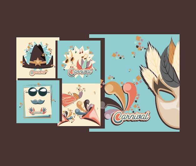 Conjunto de carnaval coleção ícones vector ilustração design Vetor Premium