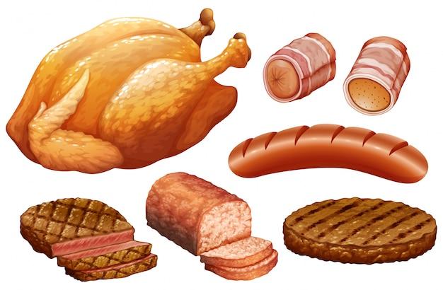 Conjunto de carne no fundo branco Vetor grátis