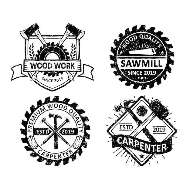 Conjunto de carpintaria vintage e rótulos de mecânico, emblemas e logotipo Vetor Premium