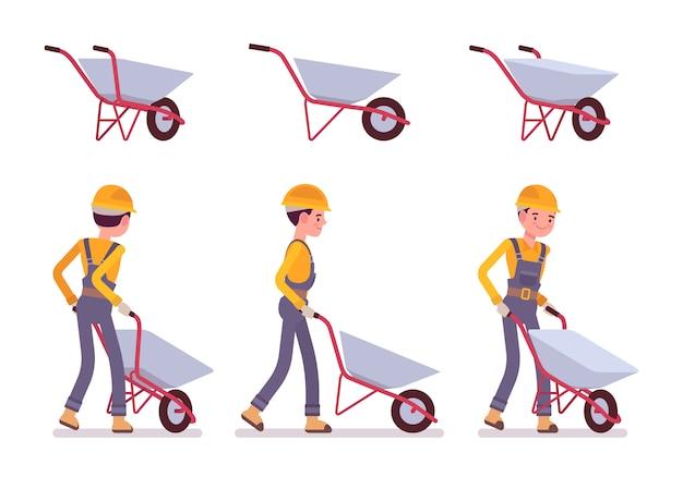 Conjunto de carrinho de mão e construtor Vetor Premium