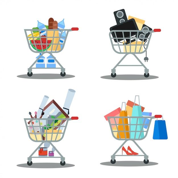 Conjunto de carrinhos de compras com mercadorias. mercearia, compras, venda Vetor Premium