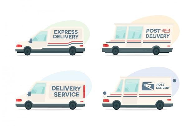 Conjunto de carro de post de entrega dos desenhos animados Vetor Premium