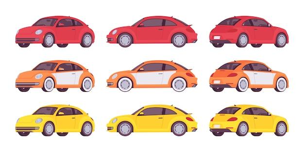 Conjunto de carro econômico nas cores vermelhos, amarelos e laranja Vetor Premium