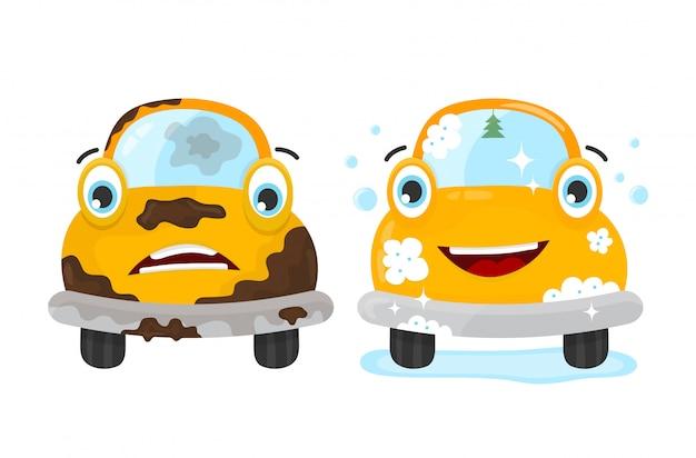 Conjunto de carro sujo e limpo Vetor Premium