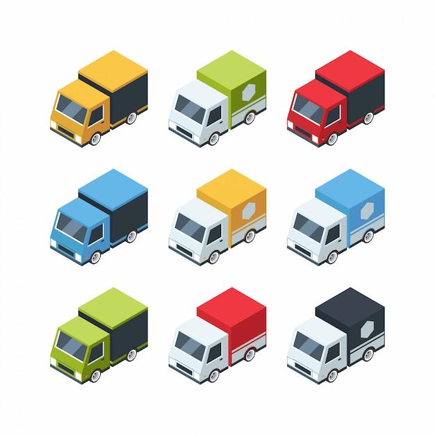 Conjunto de carros de carga isométrica estilo cartoon Vetor Premium