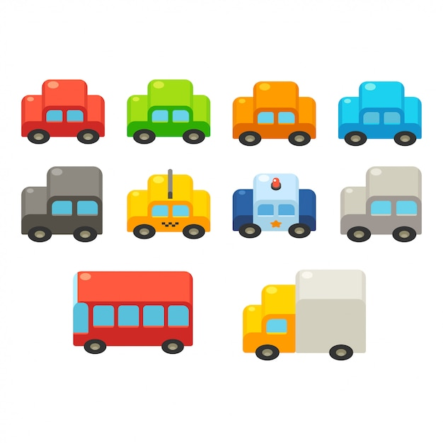 Conjunto de carros dos desenhos animados Vetor Premium