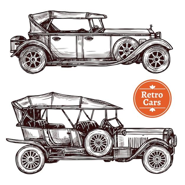 Conjunto de carros retrô Vetor grátis