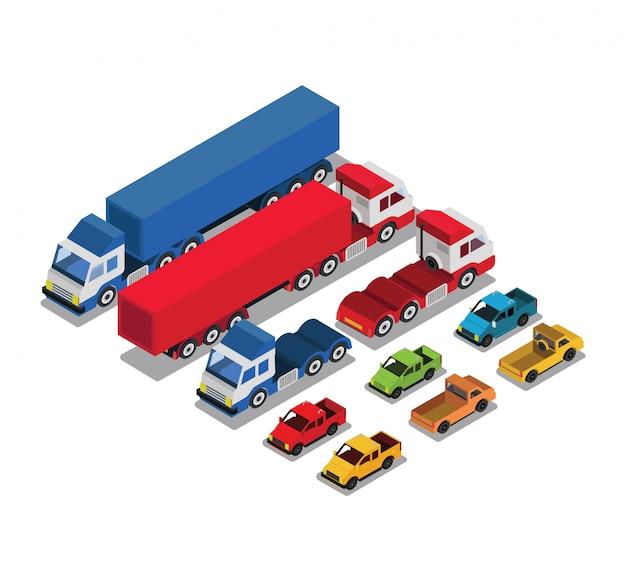 Conjunto de carros urbanos públicos e de transporte de mercadorias Vetor Premium